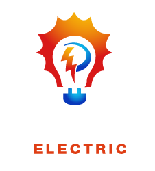 the pettett electric logo is a blue light bulb with red arcs surrounding a filament in the shape of a P.